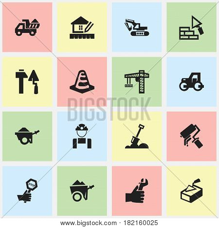 Set Of 16 Editable Structure Icons. Includes Symbols Such As Scrub, Hands , Excavation Machine. Can Be Used For Web, Mobile, UI And Infographic Design.