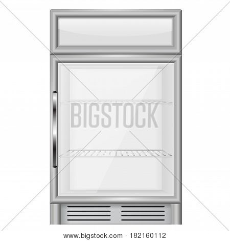 Display refrigerator. Vector illustration isolated on white background