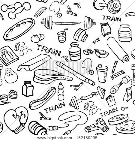 Fitness doodle hand drawn pattern. Fitness equipment, bodybuilding, sport, healthy lifestyle. Seamless vector sketch background