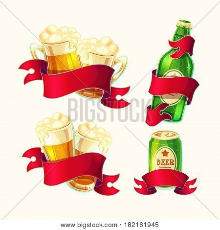 Set of vector isolated cartoon illustrations beer glasses, glass bottle, aluminum can with red ribbon. Template for badges, stickers, labels