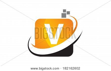 This vector describe about Technology Motion Synergy Letter V