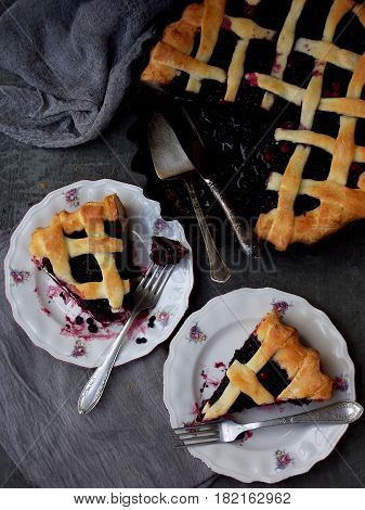 Traditional Berries Yeast Pie Tart On Rustic Wooden Background. Homemade Sweet Cake. Baked Pastry Fo
