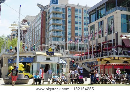 OXON HILL, MD - APR 16: The National Harbor in Oxon Hill, Maryland, as seen on April 16, 2017. It originated as a 300-acre multi-use waterfront development.