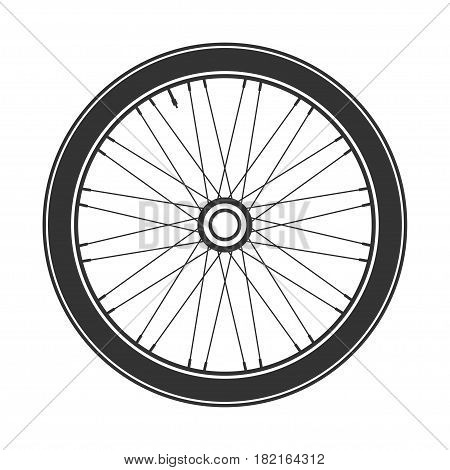 Bicycle wheel symbol, vector. Bike rubber. Mountain tyre. Valve. Fitness cycle.MTB. Mountainbike.