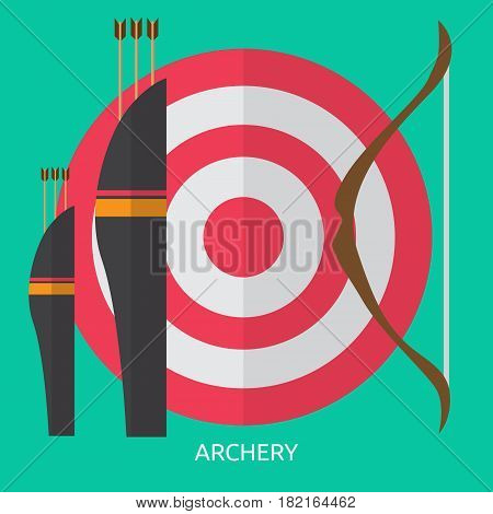 Archery Conceptual Design | Great flat illustration concept icon and use for sport, award, hobby, job, and much more. the set can be used for several purposes like: websites, print templates, presentation