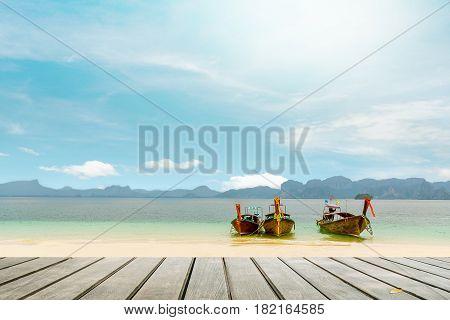 balcony Thai boats and landmark at Po-da island Krabi Province Andaman Sea South of Thailand.