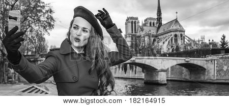 Traveller Woman Taking Selfie With Mobile Phone In Paris, France