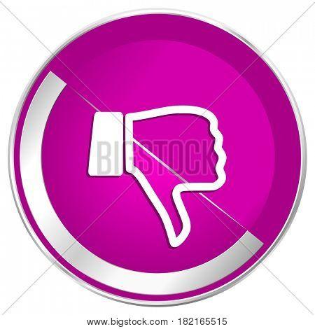 Dislike web design violet silver metallic border internet icon.