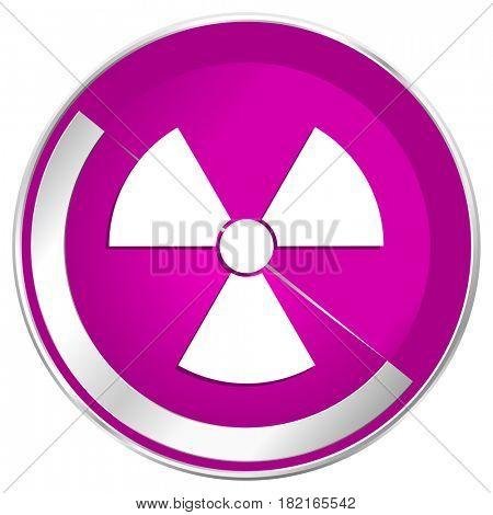 Radiation web design violet silver metallic border internet icon.