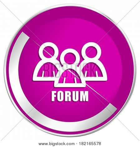 Forum web design violet silver metallic border internet icon.