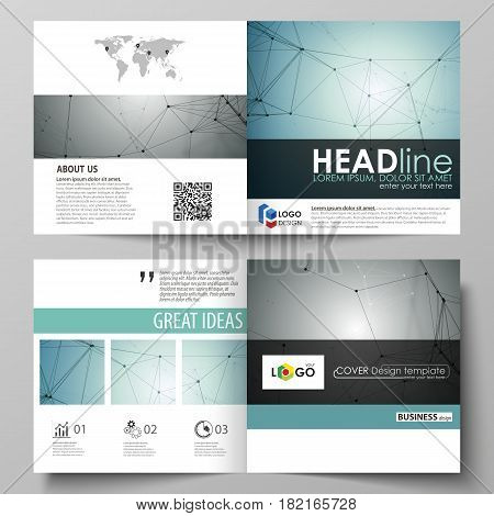 Business templates for square design bi fold brochure, magazine, flyer, booklet or annual report. Leaflet cover, abstract flat layout, easy editable vector. Geometric background, connected line and dots. Molecular structure. Scientific, medical, technolog