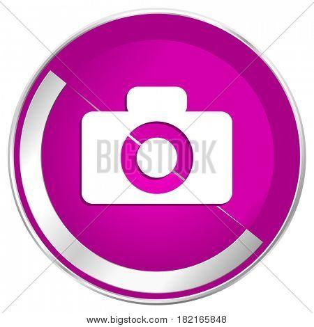 Camera web design violet silver metallic border internet icon.