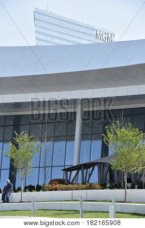 OXON HILL, MD - APR 16: MGM Resort and Casino at National Harbor in Oxon Hill, Maryland, as seen on April 16, 2017. It opened at National Harbor on December 8, 2016.