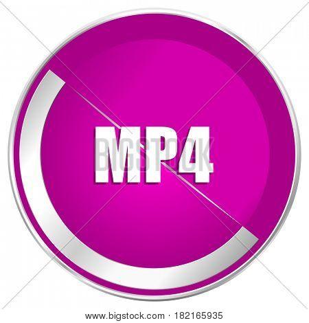 MP4 web design violet silver metallic border internet icon.