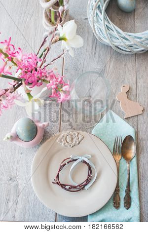 Beautiful Easter table setting in light room