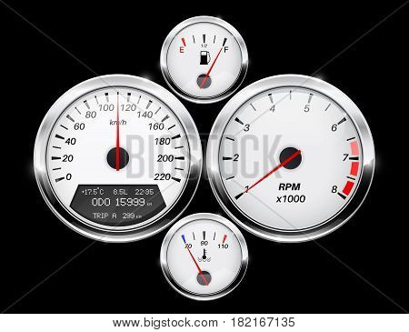 Speedometer, tachometer, fuel and temperature gage. Car dashboard. Vector illustration on black background