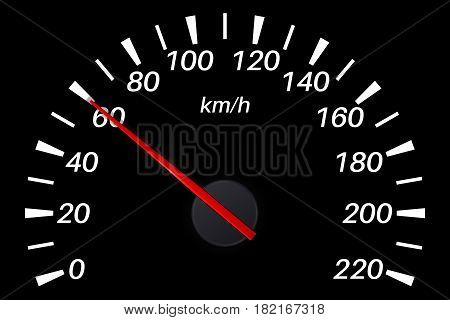 Speedometer. 60 km per hour. Vector illustration