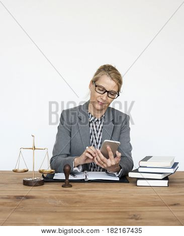 Woman Lawyer Using Mobile Phone