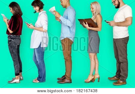 Group of Diverse People Line Up Lifestyle