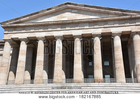 WASHINGTON, DC - APR 14: The National Portrait Gallery in Washington, DC, as seen on April 14, 2017. Founded in 1962 and opened to the public in 1968, it is part of the Smithsonian Institution.