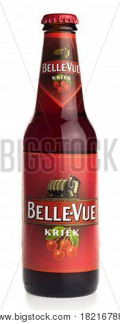 GRONINGEN, NETHERLANDS - APRIL 15, 2017: Bottle of Belgian Bellevue Kriek fruit beer isolated on a white background