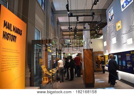 WASHINGTON, DC - APR 15: Smithsonian National Postal Museum in Washington, DC, as seen on April 15, 2017. It was established through joint agreement between the United States Postal Service and the Smithsonian Institution and opened in 1993.