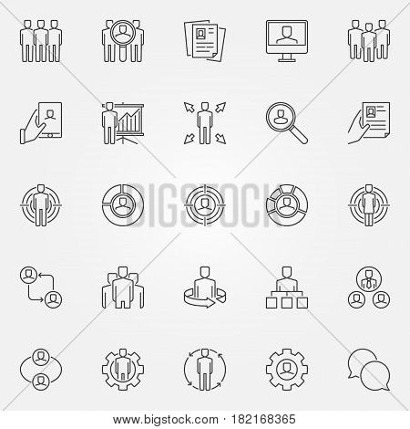 Human resources icons set. Vector HR concept signs or design elements in thin line style