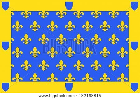 Flag of Ardeche is a departement in the Auvergne-Rhone-Alpes region of south-central France. Vector illustration