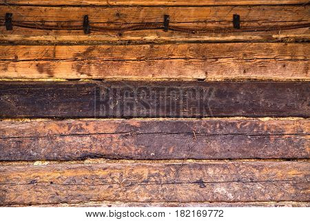 Wooden Wall Of Old House Of Brown Color