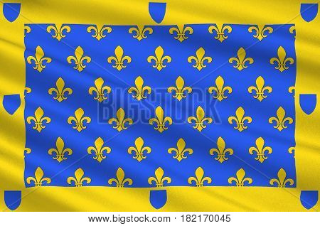 Flag of Ardeche is a departement in the Auvergne-Rhone-Alpes region of south-central France. 3d illustration