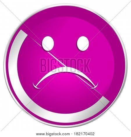 Cry web design violet silver metallic border internet icon.