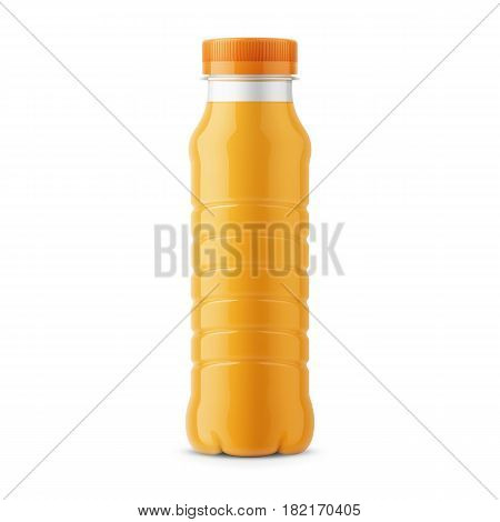 Glossy plastic PET bottle with screw cap for orange juice. 260 ml. Realistic packaging mockup template. Front view. Vector illustration.