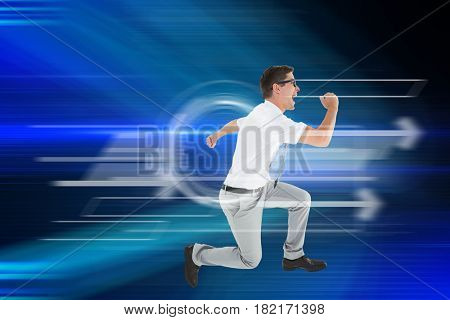 Geeky happy businessman running mid air against blue light beams over skyscrapers