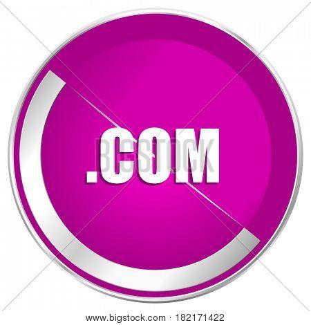 Com web design violet silver metallic border internet icon.