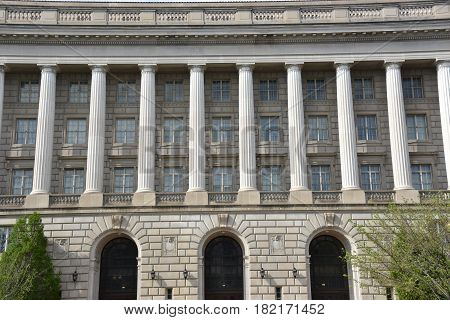 WASHINGTON, DC - APR 14: William Jefferson Clinton Federal Building in Washington, DC, as seen on April 14, 2017. The building now houses the headquarters of the U.S. Environmental Protection Agency.