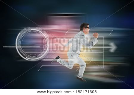 Geeky happy businessman running mid air against global connection background