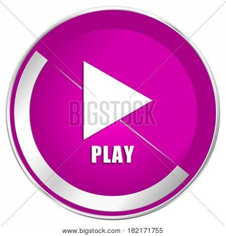 Play web design violet silver metallic border internet icon.