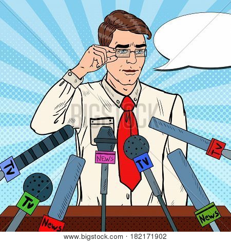 Confident Man Giving Press Conference. Mass Media Interview. Pop Art Vector illustration