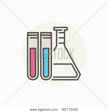 Laboratory flask with test tubes icon - vector colorful chemical lab concept sign