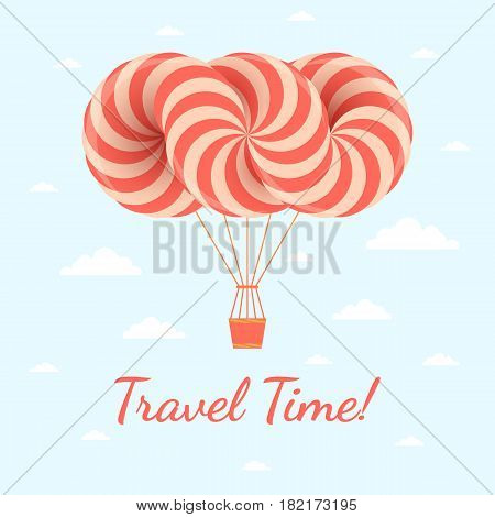 Travel time illustration. Vector postcard with airship on blue sky