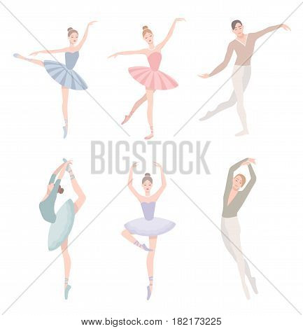 Set of ballet dancer. Vector illustration in flat style. Girl and guy in tutu dress, different choreographic position collection