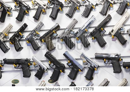 ISTANBUL, TURKEY - 1 APRIL 2017: Showcase of a gun shop in Istanbul at a weapons store on the Galata Bridge.