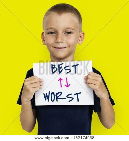 Little boy opposite idea best and worst