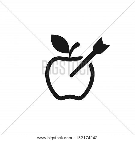 Apple as a target icon. Vector simple line icon.