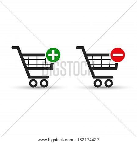 Shopping cart e-commerce vector icon set for web design.