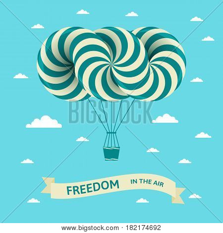 Illustration with freedom in the air inscription. Vector postcard with airship on blue sky