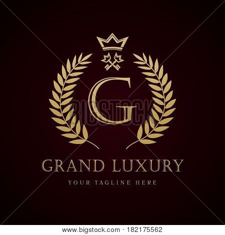 Grand Luxury key hotel logo. Grand Luxury royal professional vector classic logo template for any kind of business. G letter logo template