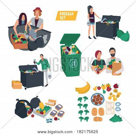 freeganism set. freegan people search food in dumpster, trash bin, garbage can. cartoon vector illustrations collection