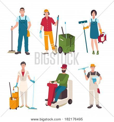 Different janitor set. People with cleaning equipment window washer, cleaner, sweeper the floor. Man on the washing machine, woman with a broom. Vector illustration in flat style