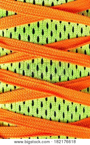 Close up laces shoes with complementary colors.Userful for sport background